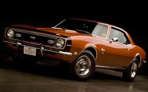 Картинка оранжевый, фон, купе, Chevrolet, Камаро, Шевроле, Camaro, передок, 1968, Muscle car, 350, Мускул кар