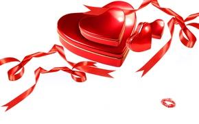 Обои фото, Сердце, Лента, Праздник, День святого Валентина, Подарки