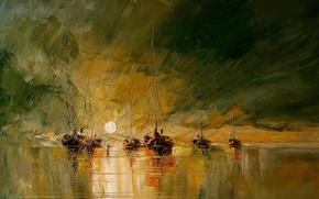 Картинка море, солнце, рисунок, картина, лодки, арт