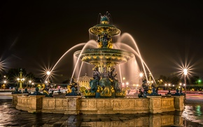 Обои дорога, ночь, огни, Франция, Париж, фонари, лужи, фонтан, скульптуры, Fontaines de la Concorde