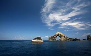 Обои Море, скалы, Небо