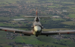 Картинка пейзаж, истребитель, полёт, Supermarine, Spitfire Mk V