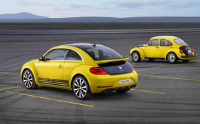 Картинка Желтый, Ретро, Volkswagen, Жук, Два, GSR, Beatle