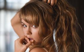 Картинка взгляд, девушка, лицо, милая, модель, волосы, руки, красавица, шатенка, красивая, русая, Настя, Анастасия Щеглова, Nastya …
