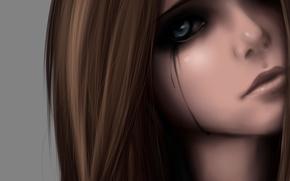 Картинка глаза, девушка, лицо, печаль, аниме, слезы, арт, zackargunov