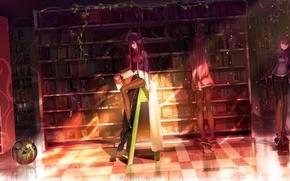 Обои девушка, свет, книги, робот, наушники, библиотека, steins gate, makise kurisu