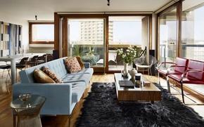 Картинка город, комната, интерьер, квартира, гостиная