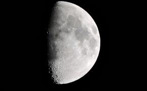 Картинка Moon, white, black, sky, planet