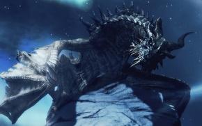Картинка взгляд, звезды, ночь, дракон, крылья, рога, The Elder Scrolls V Skyrim