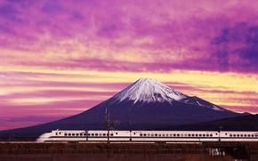 Обои япония, гора, Электричка