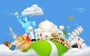 Картинка мир, Тадж-Махал, путешествие, колизей, достопримечательности