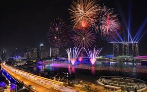 Картинка ночь, огни, праздник, Сингапур, фейерверк, отель