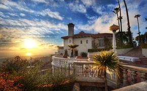 Обои дом, Sunset, океан, Hearst Castle, облака, закат