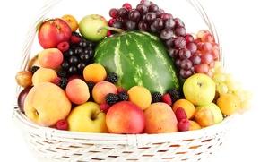 Обои арбуз, персики, абрикосы, ягоды, малина, яблоки, фрукты, нектарин, корзина, сливы, виноград, ежевика