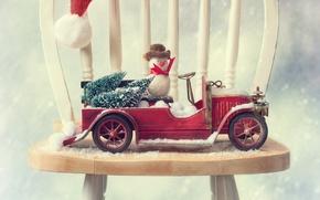 Картинка машина, авто, стул, снеговик, ёлки