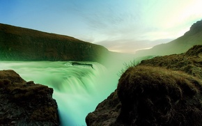Картинка свет, горы, природа, водопад