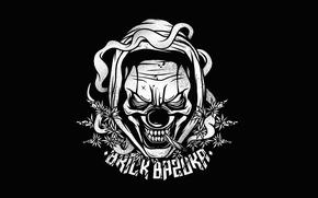 Обои Logo, Brick Bazuka, the Chemodan Clan, Music, Black, Evil Clown, Логотип, Музыка, White, Минимализм, Hip-Hop