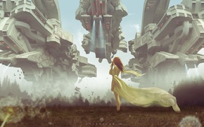 Обои взгляд, корабли, девушка, арт, sci-fi, волосы