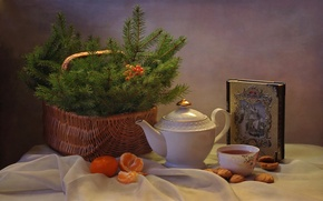 Картинка настроение, чай, корзина, елка, печенье, мандарины