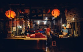 Обои свет, люди, темно, тень, Китай, ресторан, Шанхай, быт