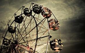 Картинка парк, Колесо обозрения, тёмное небо