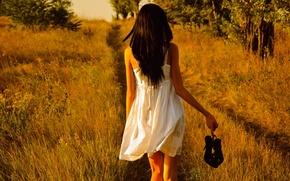 Картинка field, white dress, shoes in hand, barefoot girl