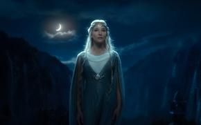 Картинка ночь, месяц, водопады, эльфийка, Ривенделл, Rivendell, Хоббит, The Hobbit, Нежданное путешествие, An Unexpected Journey, Галадриель, …