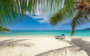 Картинка пальмы, яхта, ветки, побережье, пляж, песок, море, солнце, небо, горизонт, тропики, шезлонги, облака