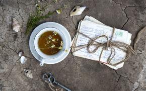 Картинка чай, ромашка, ключи, винтаж, письма