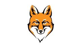 Картинка морда, животное, минимализм, голова, лиса, рыжая, fox