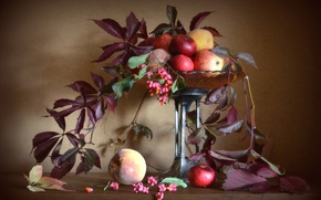 Картинка осень, листья, яблоки, натюрморт, персики