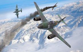 Картинка снег, горы, война, рисунок, Mustang, истребитель, бой, арт, истребители, воздушный, P-51, американский, самолёты, подбитый, реактивные, ...