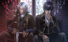 Картинка цветы, дым, меч, катана, окно, сигарета, парни, красные глаза, сидят, Hakuouki, демоны бледной сакуры, Gintama, …