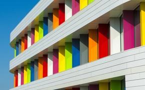 Обои небо, дом, краски, текстура, балкон, фасад