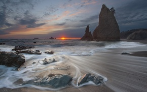 Картинка море, солнце, закат, камни, скалы, потоки