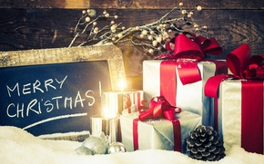 Картинка зима, снег, праздник, подарок, свечи, Рождество, Новый год, Happy New Year, box, winter, snow, Merry …
