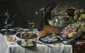 Картинка ягоды, стол, еда, картина, тарелка, нож, кувшин, фрукты, Питер Клас, Натюрморт с Пирогом с Индейкой