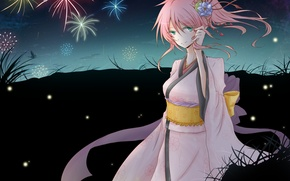 Картинка цветок, девушка, ночь, бабочка, арт, фейерверк, Vocaloid, Вокалоид, Megurine Luka