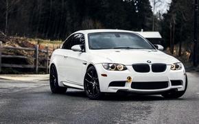 Картинка Дорога, BMW, Белая, БМВ, Фары, Перед, White, E92