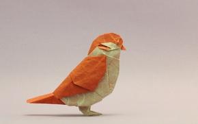 Картинка птица, воробей, оригами, bird, origami, sparrow
