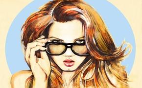 Картинка лицо, волосы, рисунок, Девушка, арт, очки, губы, живопись