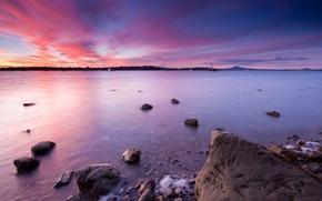 Картинка закат, Новая Зеландия, Окленд, Moon Bay, Half