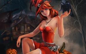 Картинка девушка, праздник, Halloween, тыква, Хэллоуин, ворон, сидит