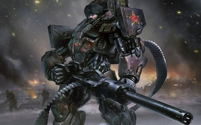 Картинка soldier, armor, future war, heavy guns, Russian Ground Forces