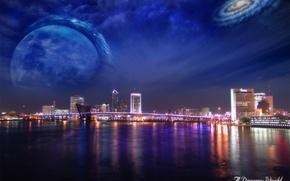 Обои небоскребы, вода, Dreamy World