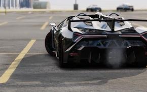 Картинка асфальт, чёрный, Lamborghini, стоянка, сзади, GTA 5, Veneno Roadster