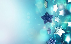 Обои макро, праздник, голубой, блеск, новый год, блестки, искры, new year, гирлянда, звездочки, елочные украшения