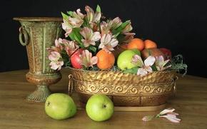 Картинка flowers, fruits, pears, Still life, apples, alstromeria, gold vase