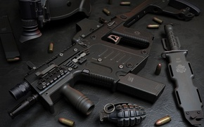 Картинка gun, USA, weapon, charger, knife, helmet, ammunition, Kriss Super V, Kriss, ordnance, grenade, submachine gun, …