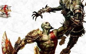 Картинка hate, sword, Hero, soldier, monster, Kratos, God of War, tatoo, Spartan, death, God, armour, warrior, …